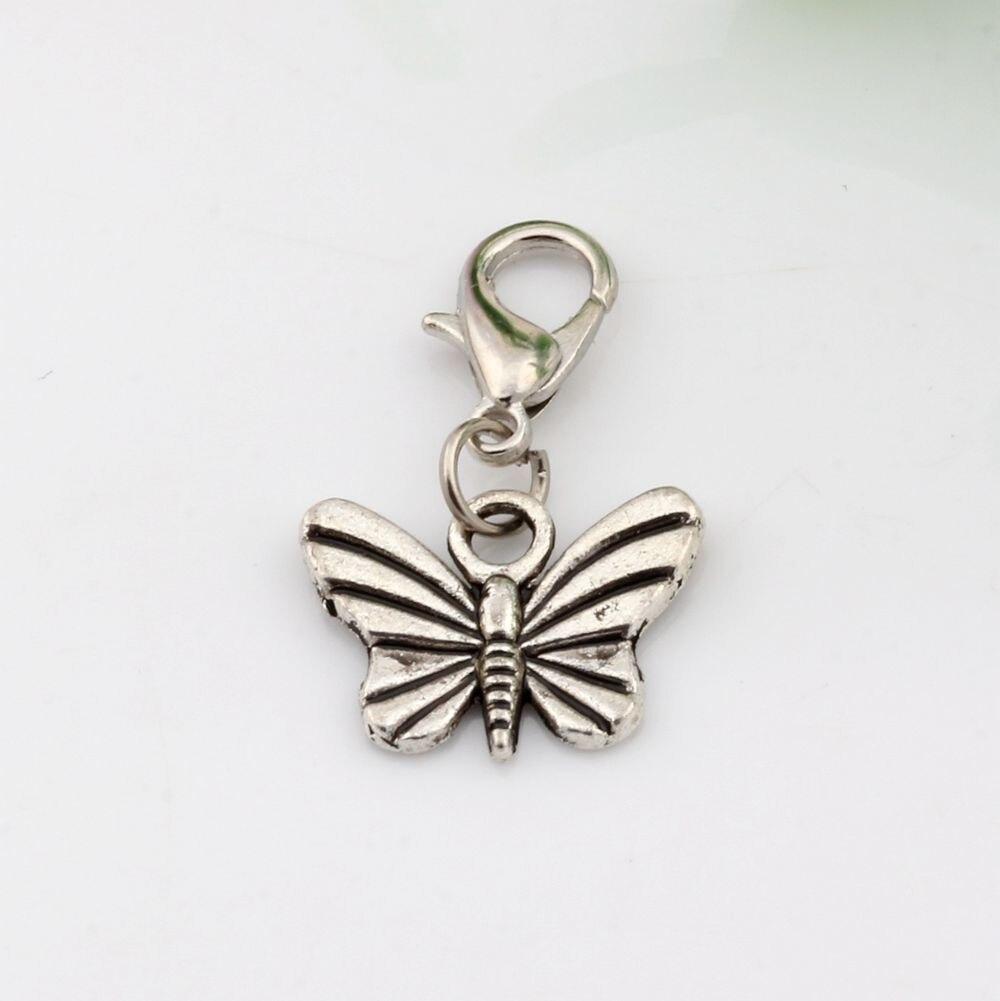 Chaud! 10 pièces en Alliage d'argent Antique papillon Charme Avec fermoir à mousqueton Ajustement bracelets porte-bonheur bijoux à bricoler soi-même 16x26mm (nm563)
