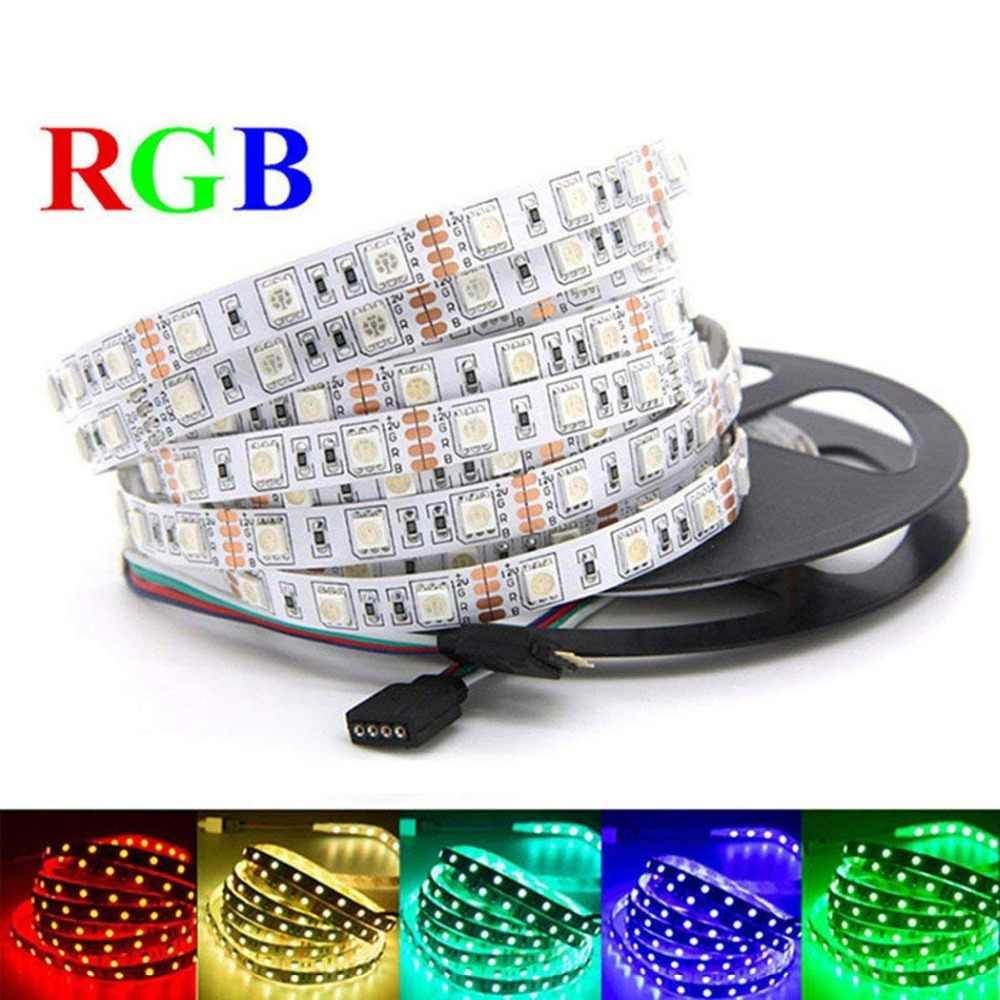 12 V 24 V LED Lampu Strip PC SMD 5050 RGB RGBW Rgbww 60Led/S 5 M 12 24 V Volt LED Strip Lampu Tahan Air Lampu Pita TV Backlight