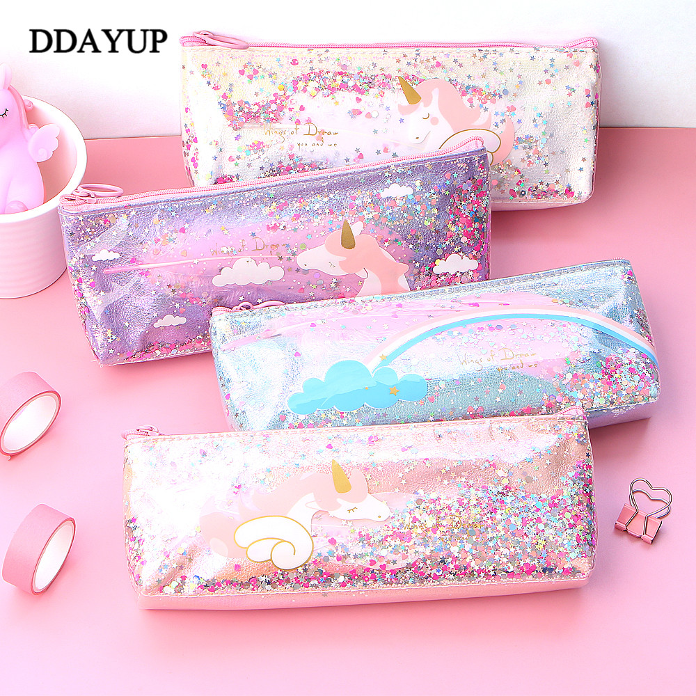 Unicorn Pencil Case Cute Kawaii Shining PU Pencilcase School Pen Case Supplies Pencil Bag School Box Pencils Pouch Stationery