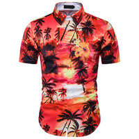 2017 New Men Floral 3D Printing Europe And The United States Wind Hawaii Beach Short Sleeved