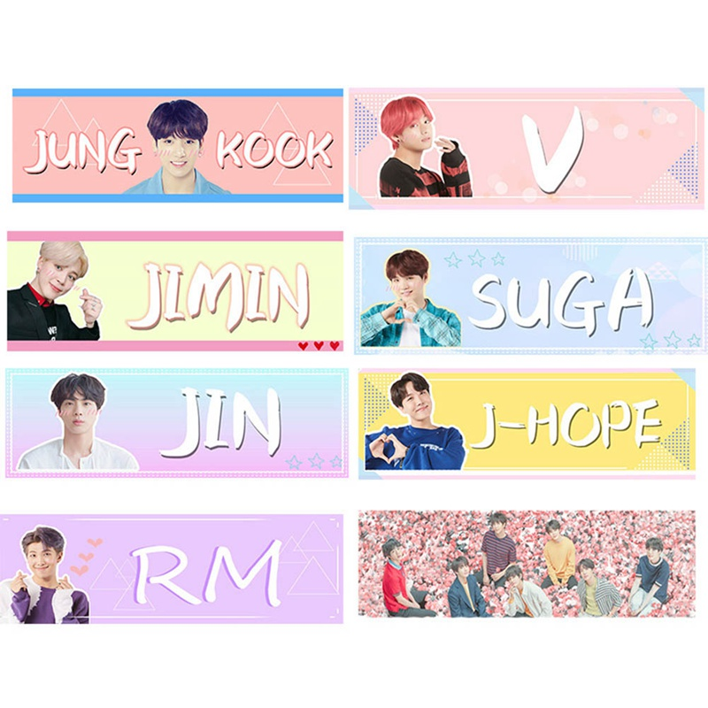 1 Pieces Kawaii K-pop BTS Bangtan Boy Concert Support Banner V Jungkook  Jimin Fabric Hand Banner Hang Up Poster Stationery Set