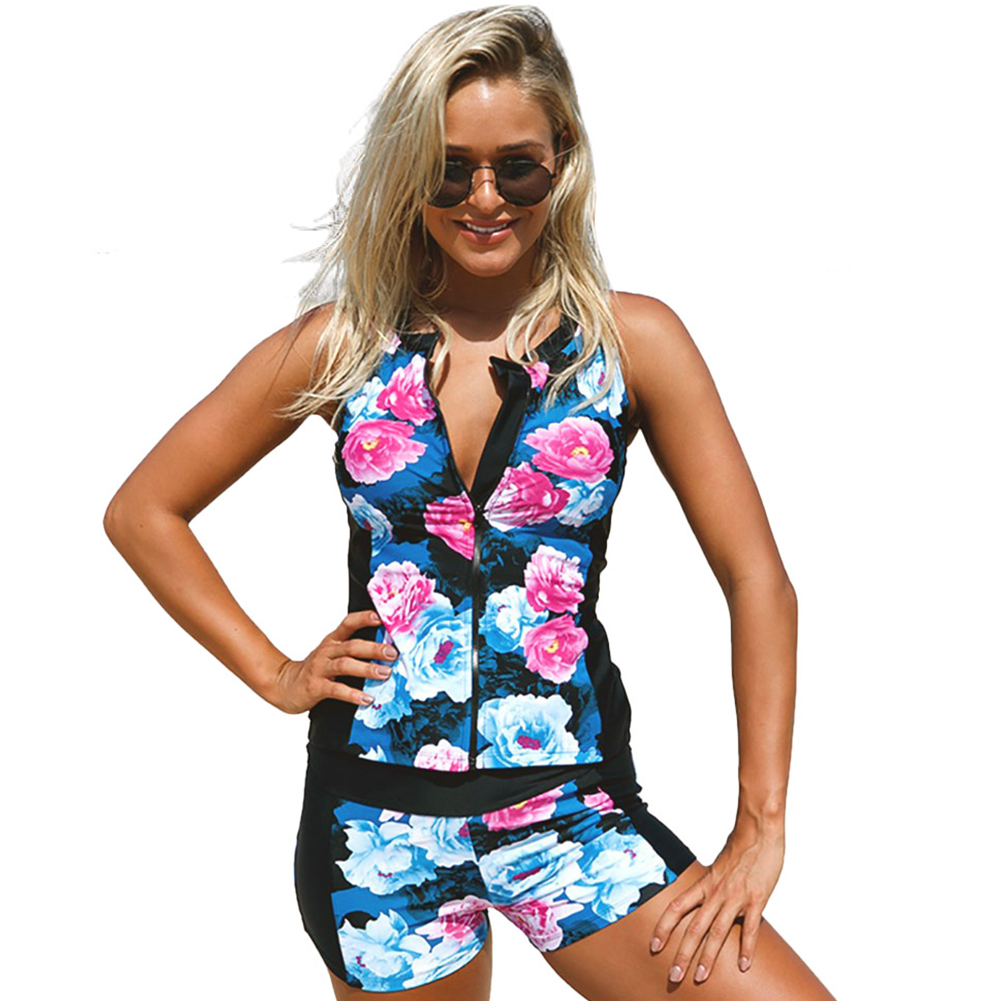 2018 Summer Swimwear Women bikini Floral Printed Zipper Swimsuits With Shorts Tankini Set Bathing Suit Beach Wear Fast Shipping