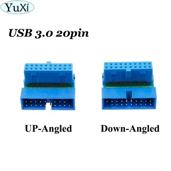 YuXi USB 3.0 20pin Male to Female Extension Adapter Converter for Motherboard Mainboard Up Down Angled 90 Degree usb 3 0 20pin male to female extension adapter angled 90 degree for motherboard mainboard connector socket 20pin male to female