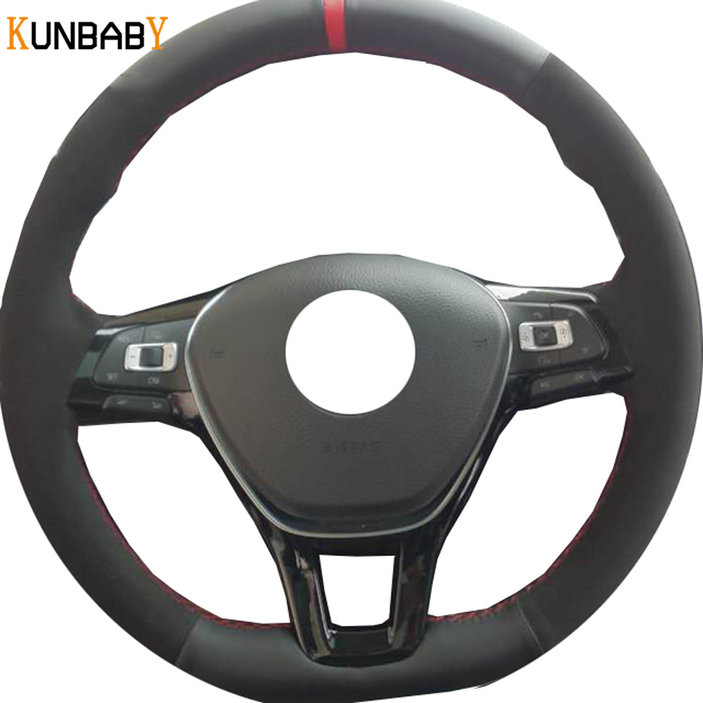 KUNBABY Car Styling Black Genuine Leather Suede Car Steering Wheel Cover for Volkswagen VW Golf 7