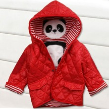 3 шт./лот) осень-зима новорожденных Верхняя одежда для маленьких девочек для маленьких мальчиков мультфильм с капюшоном с изображением панды Термальность куртки детское теплое пальто