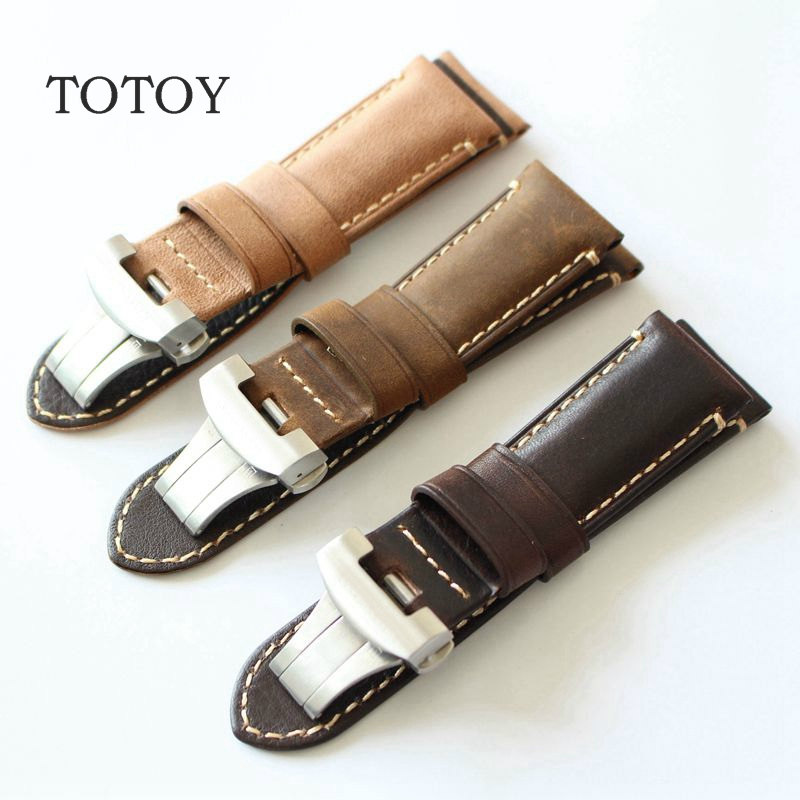 TOTOY Handmade Italian Leather Watchband, Retro Horse Leather Watchbands 24MM Folding Buckle Strap , Calfskin Strap hand made oil wax leather watchbands 24mm retro leather strap classic male models for pam italian calfskin strap