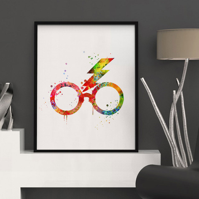 Harry Potter Glasses Watercolor Nursery Art Print Kids Wall Art Decor Glasses Wall Hanging Inspiration Prints Harry Potter K92