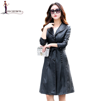 2018 Spring Autumn Women Leather Jacket Fashion High-end Genuine Leather Coats X-long Belted Slim Leather Trench Coats XY234