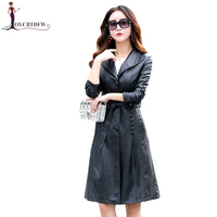 2018 Spring Autumn Women Leather Jacket Fashion High end Genuine Leather Coats X long Belted Slim Leather Trench Coats XY234