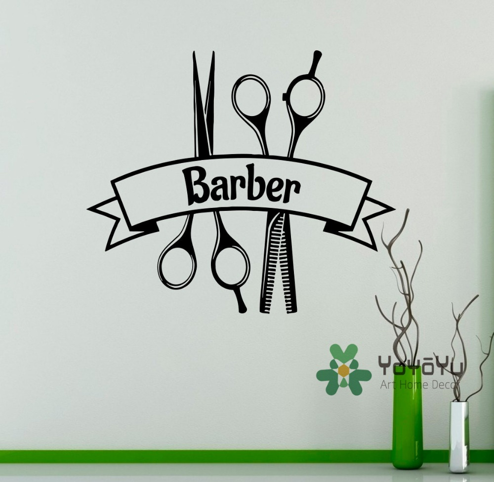 Barber shop vinyl decal hairdressing salon wall sticker for Accesorios decoracion salon