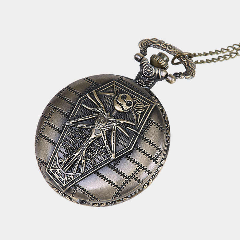 The Nightmare Before Christmas Pocket Watch Jack Skellington Skull Skeleton Retro Quartz Fob&Pocket Watch Chain Women Men Watch