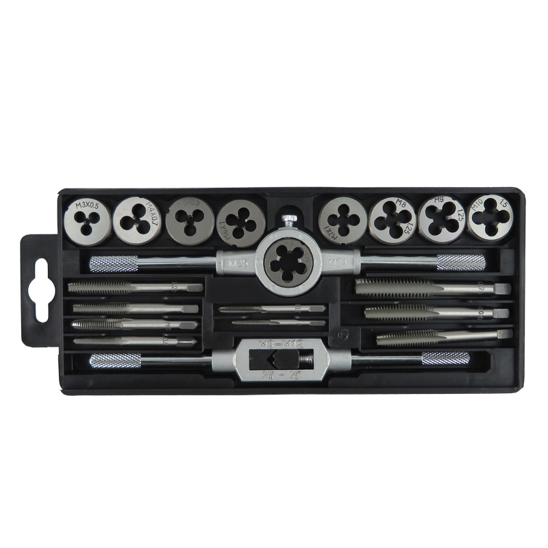 ФОТО 20Pcs Screw Tap And Screw Die Set Wrenches Combination Sets Spanner Tooth holder  Metric taps die 9 kinds of specifications