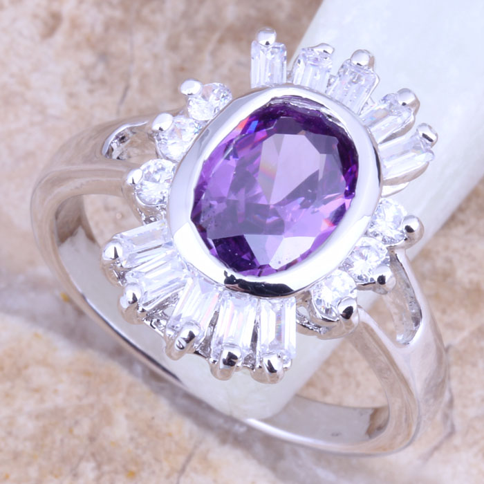 Brilliant Purple Cubic Zirconia White CZ Silver Stamped 925 Womens Jewelry Ring Size 6 / 7 / 8 / 9 R1430