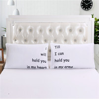 2Pcs Romantic Love Message Series Couple Pillowcases White Matching Wedding Christmas Gift For Couples 20 X30