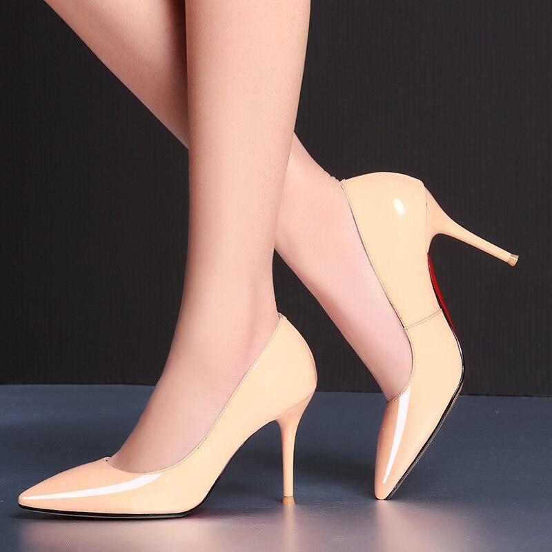 Однотонные тонкие туфли на высоком каблуке; Профессиональная модная повседневная обувь для свиданий - 6