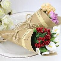 50 Pz Pieghevole Scatola di Carta Creativo Regali di Imballaggio Supporto di Carta Favori di Nozze Fiore Coni Gelato Modello Wedding Party Decor