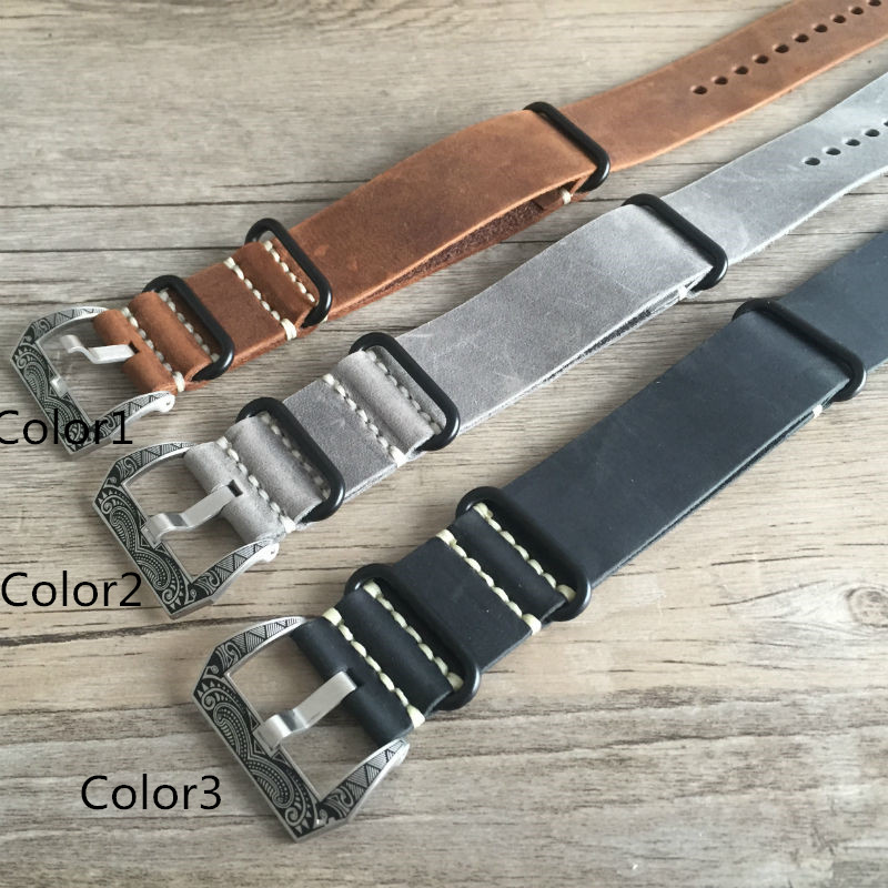 20mm 22mm 24mm 26mm Crazy Horse Genuine Leather Watchband, Fashion NATO Watch Strap Belt With Special Buckle genuine leather watchband 20mm 22mm 24mm 26mm crazy horse nubuck sports outdoor watch band buckle strap relogio pulseira