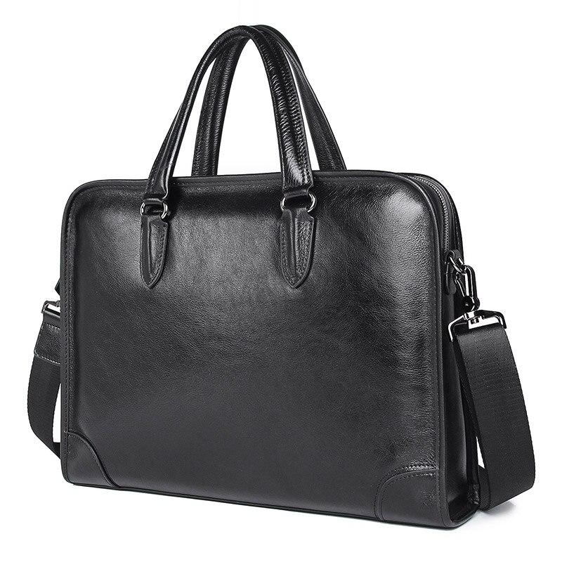Nesitu Highend Black Genuine Leather 14'' Laptop Office Men Briefcase Male Business Shoulder Messenger Bags A4 Portfolio M7402