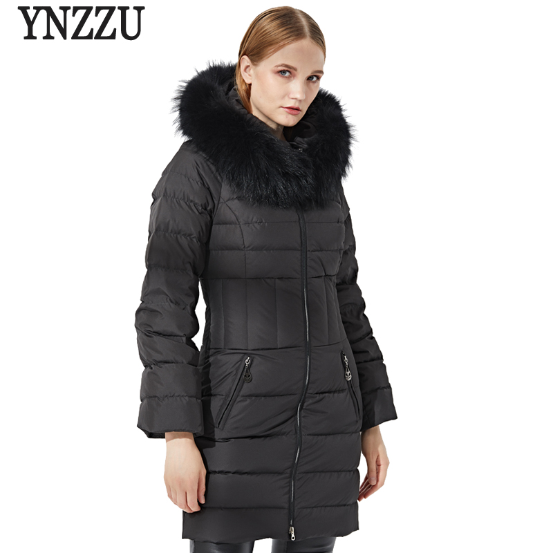 Luxury Elegant Womens   Down   Jacket 2018 Winter 90% White Duck   Down     Coat   Women Real Fur Collar Hooded Warm Slim Snow   Coat   AO682