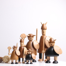 Europe Creative High-quality Teakwood carving Pirate Vikings miniature figurines tabletop craft Solid wood home decoration