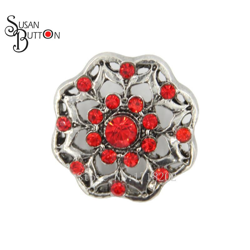 Snap Interchangeable Rhinestone Red Hollow Heart Flower Metal Button Charm  Snaps Chunky Ginger 18mm SJSB1345 2e485fc49bac