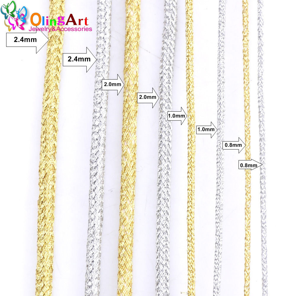 OlingArt 0.8mm/1.0mm/2.0mm/2.4mm Gold Silver Thread Color Line Chinese Knot String Knit Cord Ropes Line Wire DIY Jewelry Making