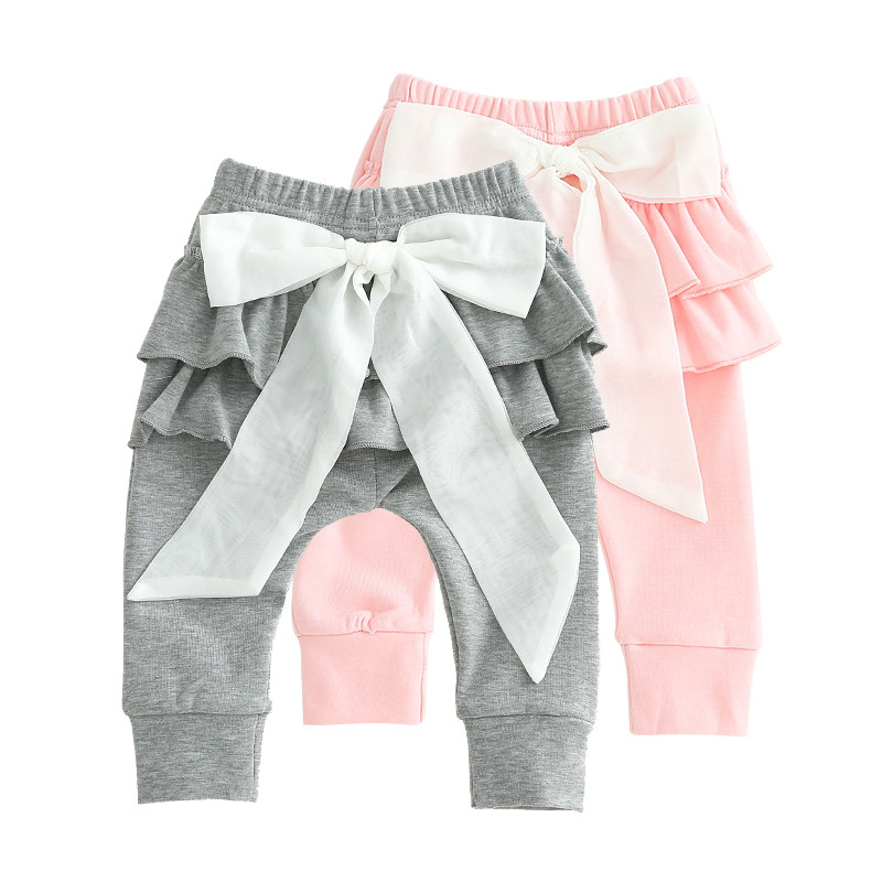Baby Pants Girl Trousers Cotton Kids Pants Long Legs Big Bow Funny Pants for Baby Girl Spring Summer Baby Clothing Cute Pink