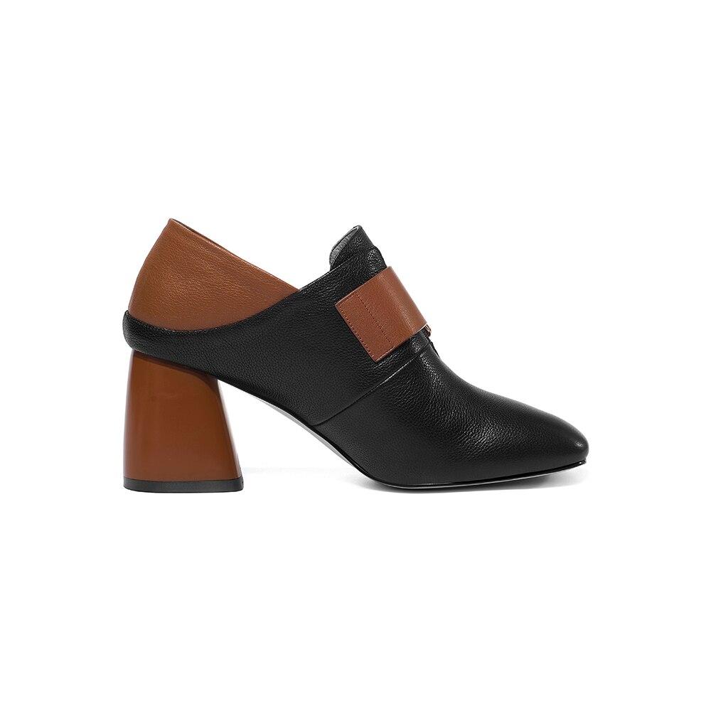 Bombas Mujeres Black Zapatos Dedo Tacones Cuadrado Cuero Mujer Las Tacón Alto Belleza Con Genuino Negro Pie Fenty Del Primavera De Leepo wH4xnqEtRE