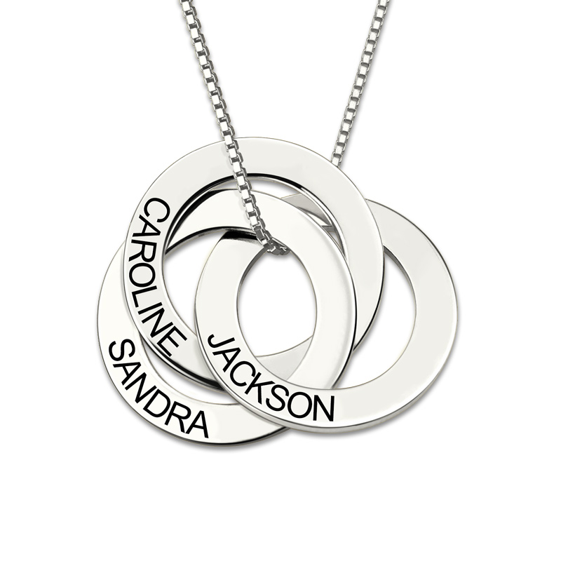 цены AILIN Sterling Silver Necklace Personalized Russian Interlocking Circles Necklace Gift for Mother