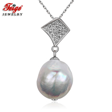 FEIGE Baroque style 13mm Big White Natural Freshwater Pearl Pendant Real 925 Silver Necklaces for Women Fine Jewelry