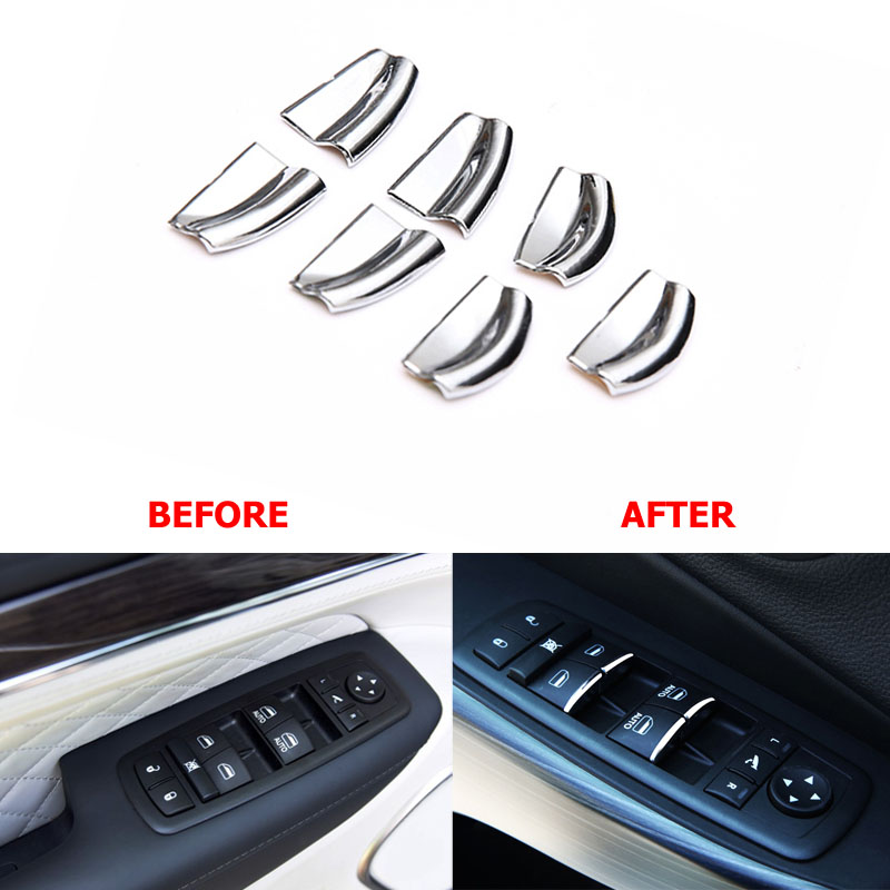 Window Master Switch Button Cover Sticker Trim Interior Accessory For Jeep Grand Cherokee SRT Cherokee Liberty For Dodge Journey loreada throttle body 4861661aa 4861661ab for jeep grand cherokee liberty dodge dakota nitro ram 1500 3 7l 3 8l