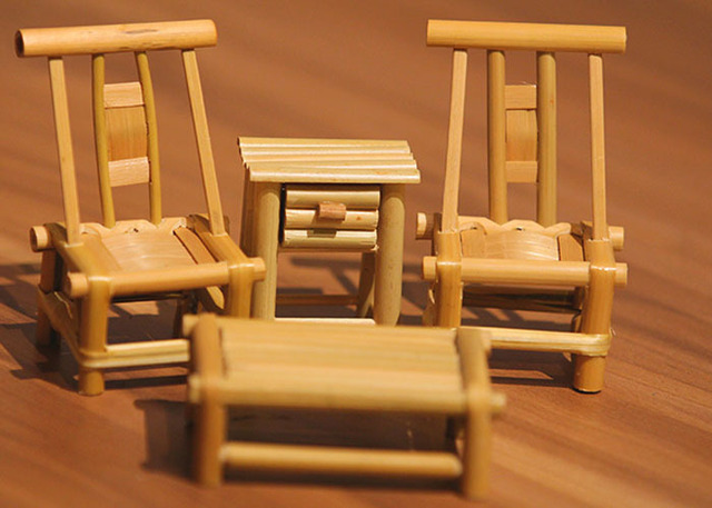 Mini Furniture Model Antique Furniture Bamboo Weaving Small Chair Desk  Cabinet Wood Craft Unique Adorn Adornment - Mini Furniture Model Antique Furniture Bamboo Weaving Small Chair