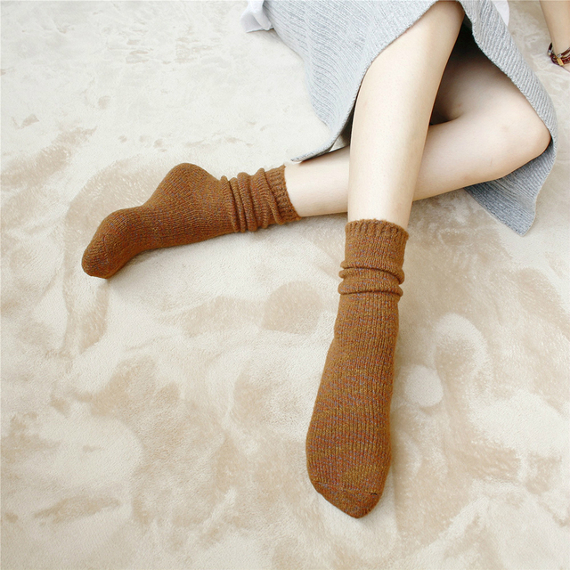 1e584a730 5 Pairs Women Boot Socks 95% Wool Cashmere Knee-High Thick Winter Warm Soft  Mid Sock