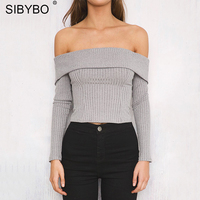 Sibybo Off Shoulder Zipper Slash Neck Tank Top Women Short Long Sleeve Crop Top Autumn Winter