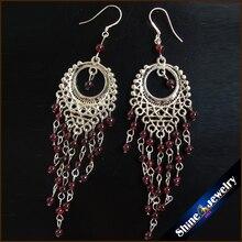 Vintage Tibetan Style Fashion Jewelry Earrings for Women with Natural Garnet Stones Beads Long Dangle Earings Female -SOP4