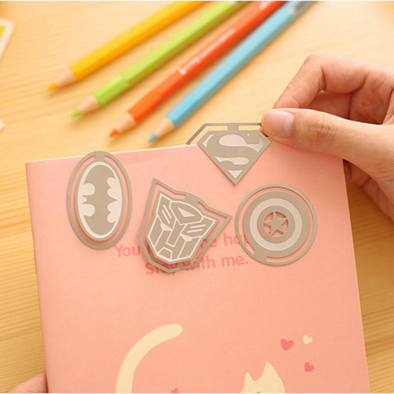 1Pcs American Super Heroes Personalized Metal Bookmark Superman Captain Batman Stationery Office School Supplies