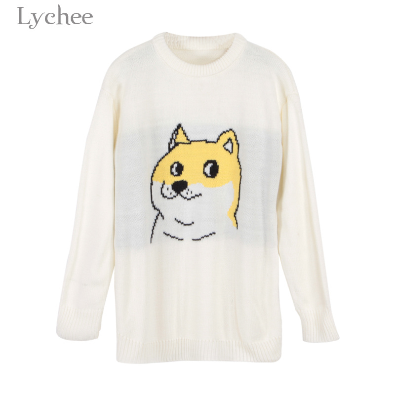Lychee Spring Autumn Sweet Women Kint Sweater Cartoon Dog Print Long Sleeve Casual Loose Knitted Pullover ...