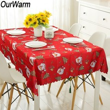 OurWarm Merry Christmas Rectangular Tablecloth Red Santa Claus New Year Table Cloth Decorations for Home Cover