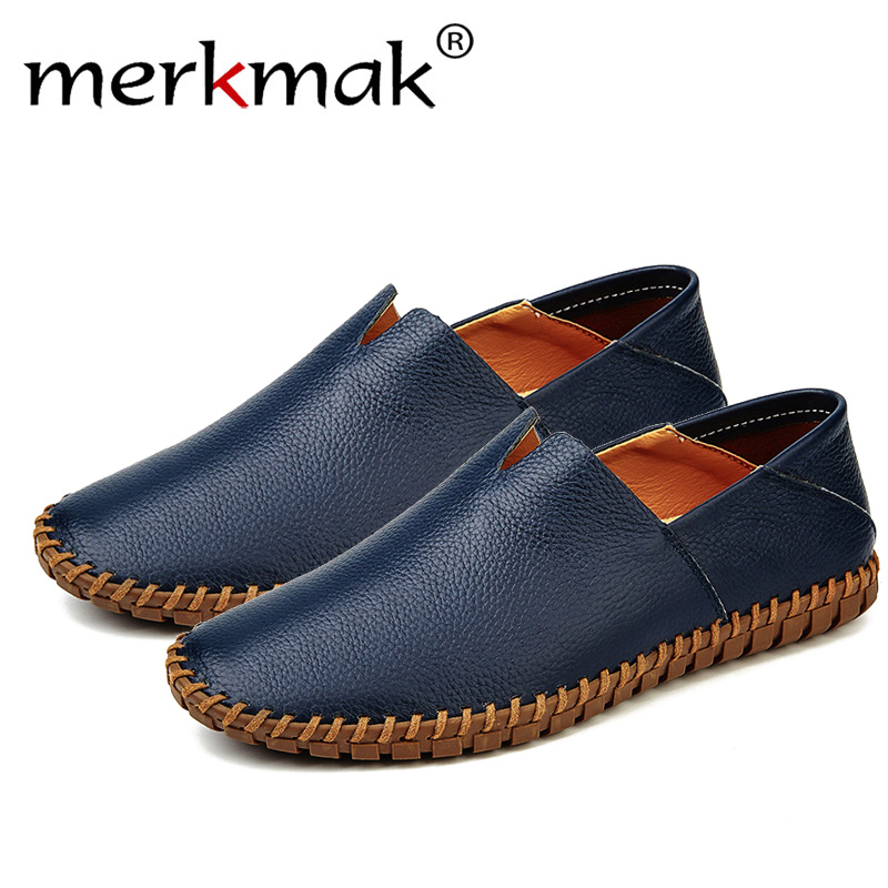 Merkmak Boat Shoe Men's Loafers Genuine-Cow-Leather Moccasins Slip-On Fashion Blue 38--47