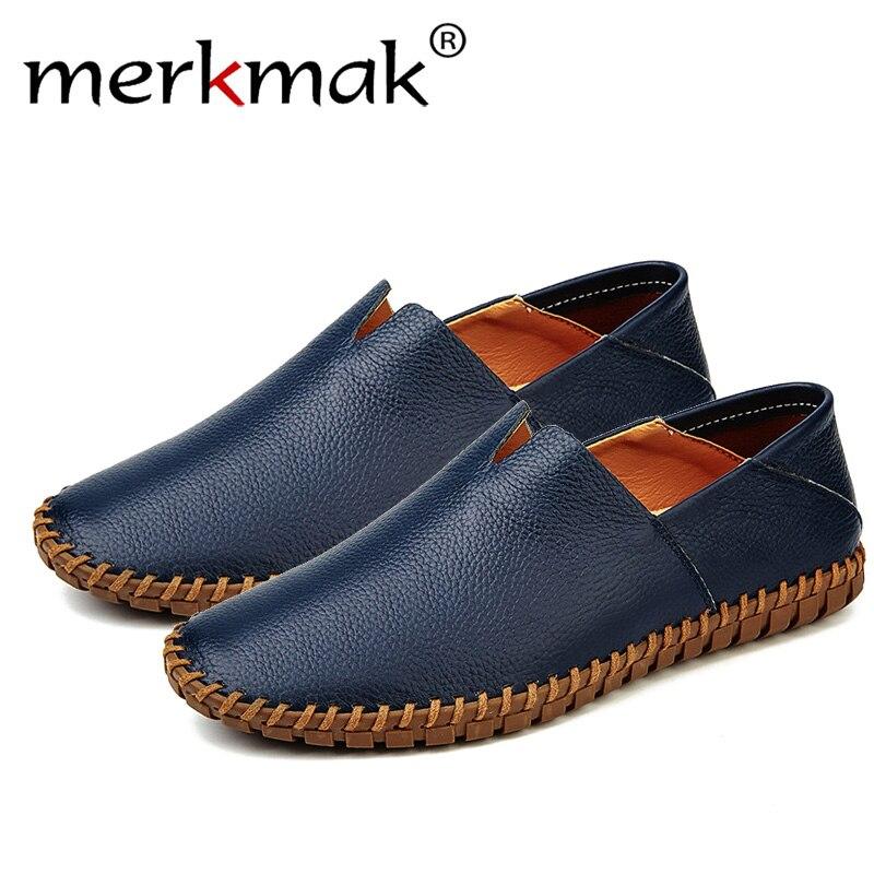 Merkmak/из натуральной коровьей кожи Для мужчин Лоферы модные мокасины ручной работы из мягкой кожи синий слипоны Для мужчин лодка обуви плюс р...