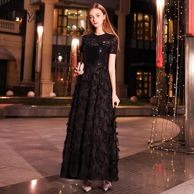 weiyin Long Evening Dresses 2019 Women Elegant Sexy Lace O neck Long  Evening Gown Black Sequined 1d6f978553ec