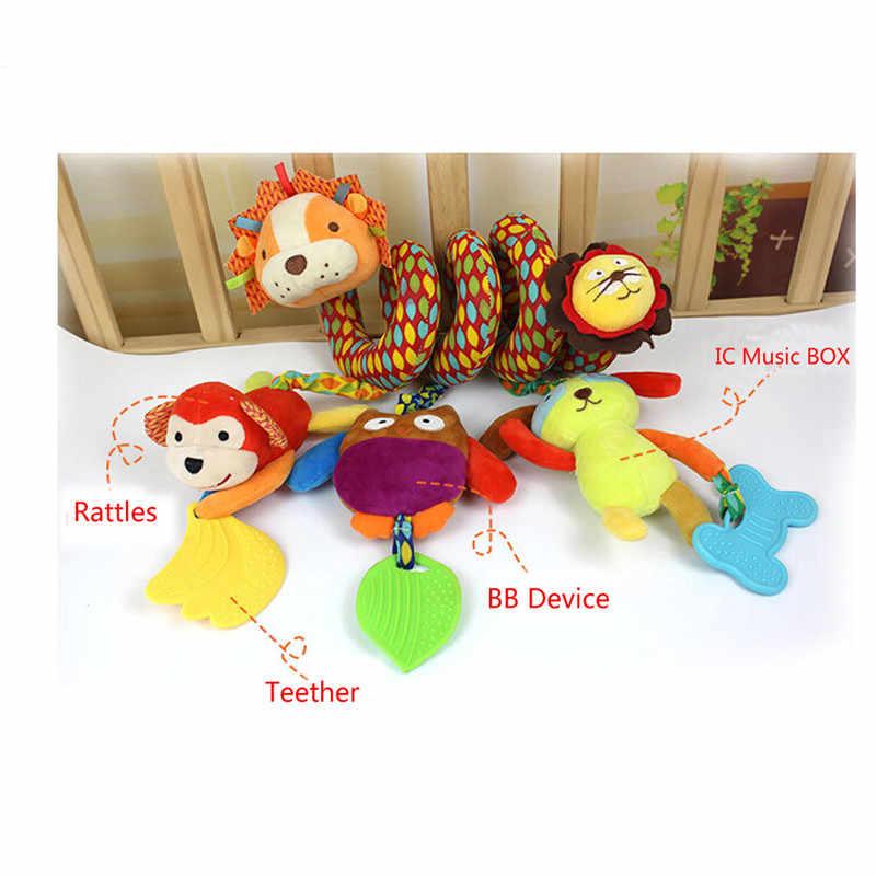 Детская кроватка детские игрушки-погремушки кольцо звук активности спиральная кровать коляска игрушка двойная голова Лев Слон висячий колокольчик погремушка для детской кроватки игрушки