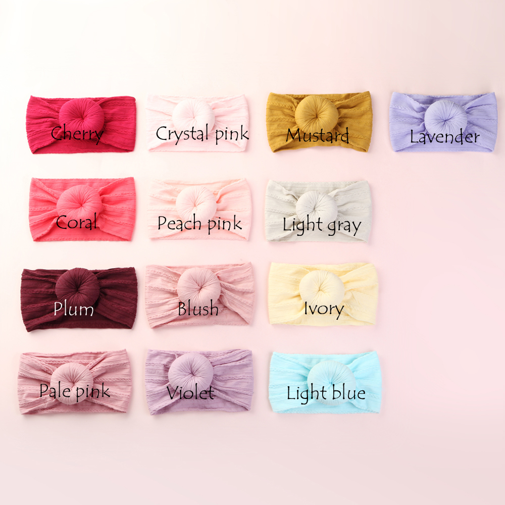 50 pcs lot Wholesale Round Knot Nylon Headwraps Cable Knit Donut Nylon Turban Headbands Kids Girls