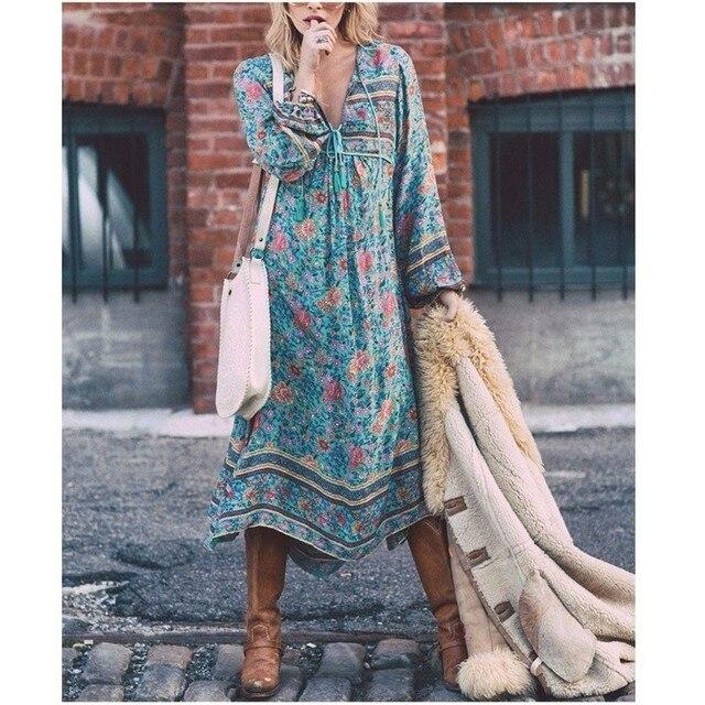 Autumn Women Bohemian Dress Three Quarter Sleeve Causal Beach Floral Print Loose Dress Mid-Calf Length V-Neck Ladies Boho Dresse