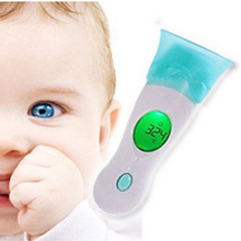 Cute 4 in 1 Digital LCD Ear Forehead Ambient Clock IR Infrared Thermometer Baby Adult