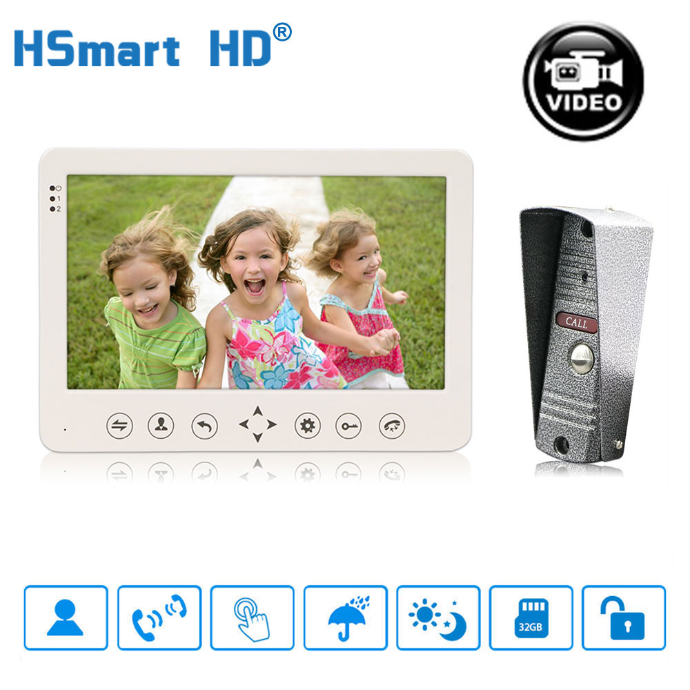 "7"" inch Video Doorphone Touch Button IP65 Waterproof IR Visual Doorbell Motion Detection SD card Video Record Intercom System"