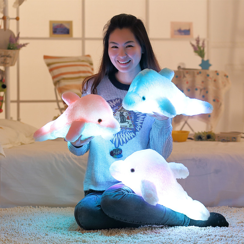 1pc 45cm Creative Luminous Plush Dolphin Doll Glödande Kudde, LED Light Plush Animal Leksaker Colorful Doll Kids Children's Gift