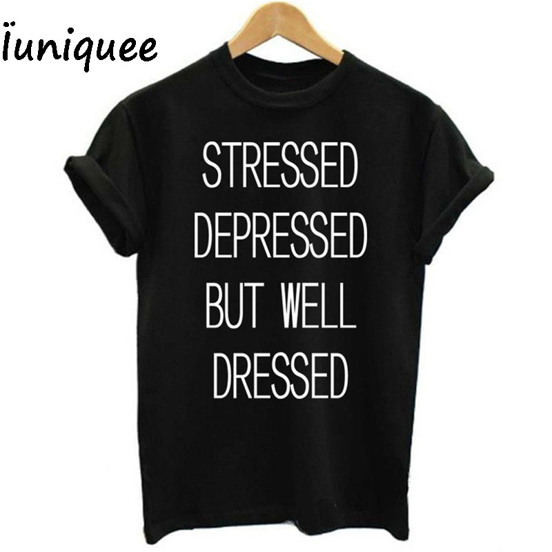 Black T Shirt Women Stressed Depressed but Well Dressed Printed Funny Graphic Tees Women Short Sleeve T-Shirt Casual Ladies Tops