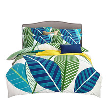 Fashion Modern Leaves Soft Healthy Texture Stripes Bedding Set Duvet Cover Sheet Pillow Case 100% Cotton 2 size L/XL 4 Pcs/set