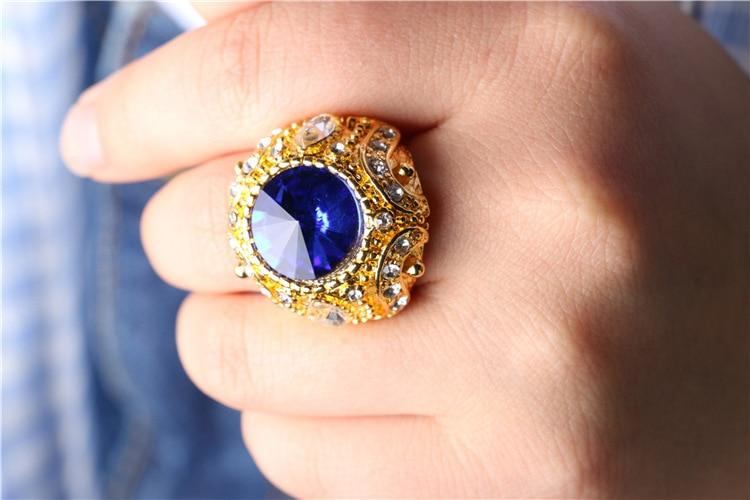 Joyme joyería turca de lujo anillo masculino de boda azul piedra oro - Bisutería - foto 5